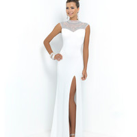 Off White Jeweled High Neck Open Back Jersey Dress