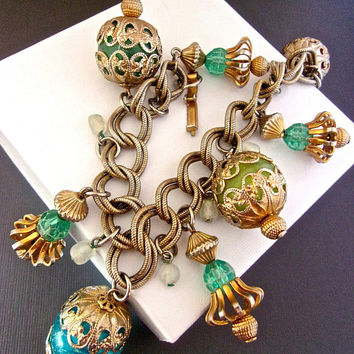 Filigree Beaded Charm Bracelet Double Link Chain, Large Blue Green Pink, Chunky Gold Tone, Vintage