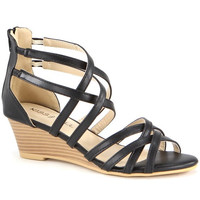 """""""Jamea"""" Strappy Low Wedge Sandals - Black"""