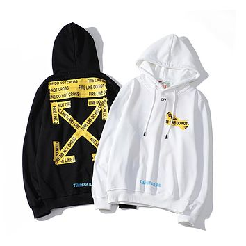 OFF-White new jacket street style yellow warning arrow pattern men's and women's hoodie