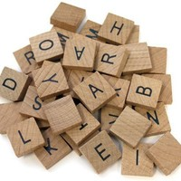 40 Pc Wooden Alphabet Tile Set Common Alphabet Crafts Scrapbooking Magnets 3/4in   AihaZone Store