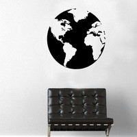 Large World Map Globe Wall Decal - Home Decor - Gift Idea - Living Room - Bedroom - Kids Room - Office - High Quality Vinyl Graphic