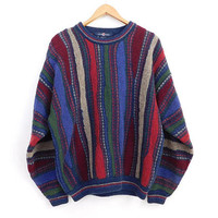 Vintage 90s Mens Sweater - Size XL Textured Striped Red Blue Green Beige Wool Blend Baggy Pullover Sweater Crewneck Jumper