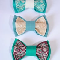 FREE SHIPPING Set of 3 men's bowties Mint green turquois vinous pretied bow tie Groomsmen bowtie Best man handmade bowtie Gift for boyfriend