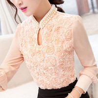Women Chiffon blouse, Flower Beaded lace Tops, long sleeved, Casual clothing