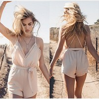 Backless lace-up condole belt splicing lace irregular conjoined shorts