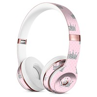 Pink and Silver Crowns Full-Body Skin Kit for the Beats by Dre Solo 3 Wireless Headphones
