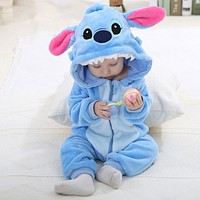 IDGIR Blue Stitch Cute Cartoon Baby Pajama set Novelty Cotton Baby rompers boy girl Animal Rompers Stitch Baby's Sets One-Pieces