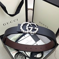 Gucci hot sale classic GG diamond and pearl letter buckle belt fashion men's and women's belt