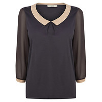Buy Oasis Tipped Collar Blouse, Mid Grey online at John Lewis