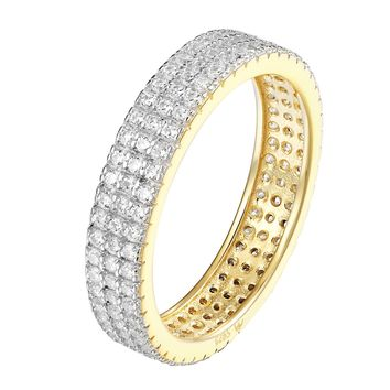 Womens Eternity Engagement Band 14k Gold Over Sterling Silver Cubic Zirconia New