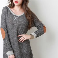 Suede Elbow Patch Terry Knit Shift Dress