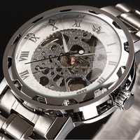 Classic Men's White Silver Stainless Steel Skeleton Mechanical Sport Army Wrist Watch, Dress Wristwatch, Steampunk twatch; Gift for Him
