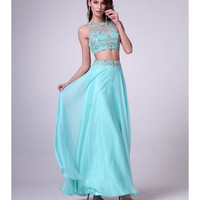 Mint Chiffon Embellished Two Piece Dress 2015 Prom Dresses