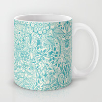 Detailed Floral Pattern in Teal and Cream Mug by Micklyn