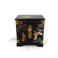 Mid century Chinese Shanghai lacquer and mother of pearl jewellery box, brass chinese lock