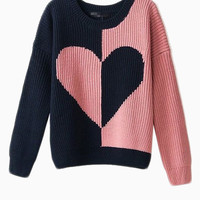 Cute Knitted Jumper With Contrast Color Heart - Choies.com