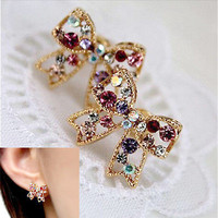 New Fashion Colorful Rhinestone Bow Earrings Vintage Jewelry Bowknot