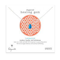 lasting healing gem necklace, turquoise, sterling silver, 16 inch