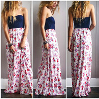 A Lace and Navy Floral Maxi
