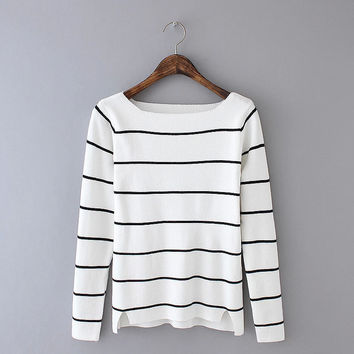 Stripe Long-Sleeve With Side Slit Sweater