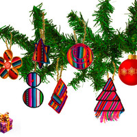 Set of 5 Tribal Peruvian Christmas Tree Ornaments. Embroidered Peruvian fabric Ornaments, Ethnic Christmas Gifts, Tree Ornaments