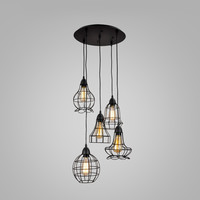Rustic Barn Metal Chandelier Max 200W With 5 Light Black Finish