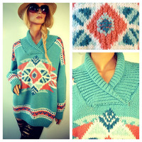 AZTEC NAVAJO Oversized Slouchy Knit Sweater