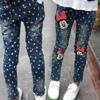 2016 children's clothing spring and autumn girl minnie dot Jeans children pants 3 4 5 6 7 8 9 10 11 12 13 14 years