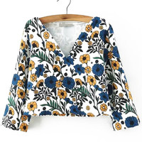 Floral V-Neck Crop Top