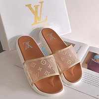 LV Louis Vuitton slippers new style outer wear fashion all-match sandals beach slippers Shoes Khaki