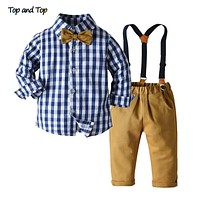 Top and Top Boys Clothing Sets Springs Autumn New Kids Boys Long Sleeve Plaid Bowtie Tops+Suspender Pants Casual Clothes Outfit