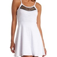 Stud & Beaded Textured Skater Dress by Charlotte Russe