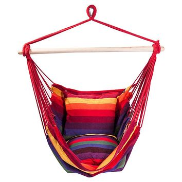 Hammock Chair Rope Swing Seat For Indoor Outdoor Garden Bedroom Home - Colorful