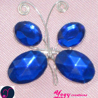 Blue crystal butterfy pendants by Yogy's