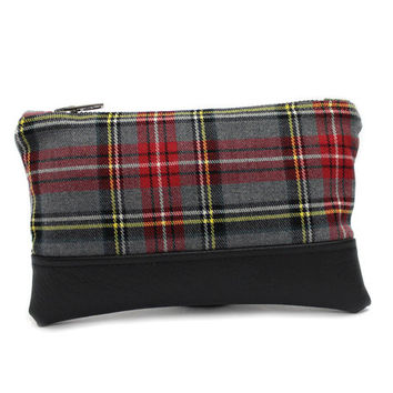 Small Gray Pouch, Plaid Zipper Pouch, Wool Leather Clutch, Gray Zippered Clutch, Fabric Zip Pouch, Small Wool Purse, Vegan Leather Pouch