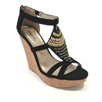 Glory Days Beaded Wedges In Black
