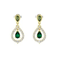 Pear Emerald 14K Yellow Gold Earring with Green Tourmaline & White Sapphire