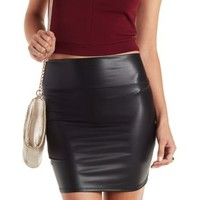 Black Faux Leather Bodycon Mini Skirt by Charlotte Russe