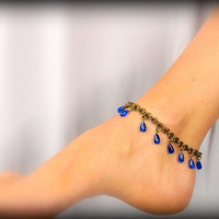 Sexy Summer Anklet - Antique Brass with Cobalt Blue Teardrops