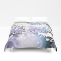 Watercolor Floral Lavender Teal Gray Duvet Cover by lilkiddies