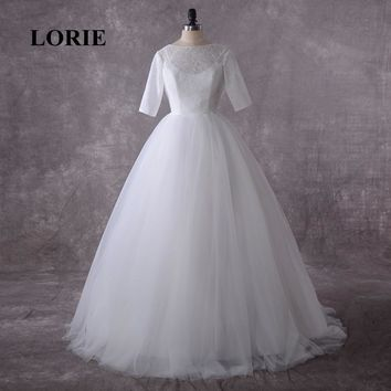 LORIE Plus Size Wedding Dress 2019 Real O-Neck A-Line Lace Top Tulle Wedding Gown with Half Sleeves Lace up Back  Bridal Gown