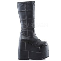 Demonia Matte Black Space Platform Boots