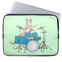 Cat Playing Drums, Blue - Drummer Laptop Sleeve