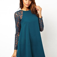 Lace Sleeve A-Line Dress