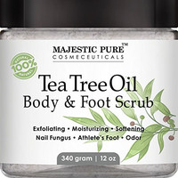 Tea Tree Oil Body & Foot Scrub from Majestic Pure is 100% Natural Anti Fungal Scrub - 12 Oz