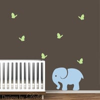 Nursery Decal with Elephant and Butterflies