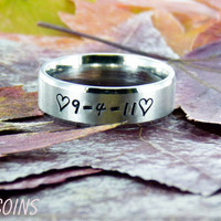 7mm Matte finish Stainless Steal Ring with custom name and symbols
