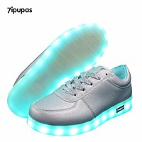 7ipupas Matte silver gold Led glowing sneakers light up shoes for boy&girl neon casual Disco luminous sneakers Lace Up Eur 30-44