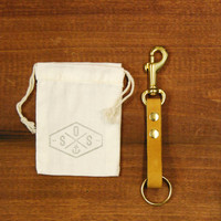 """Leather Key Fob With Clip : Natural Leather Keychain, """"The Tango Clip Fob"""""""